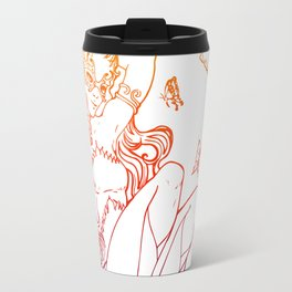 The Masked Fairy - sunset colors version - A masked fairy girl surrounded by butterflies and roses Travel Mug