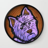 westie Wall Clocks featuring Purple Westie by Gianna Brucato