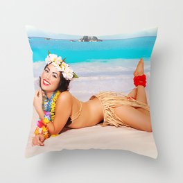 """Sandy Shores"" - The Playful Pinup - Tropical Beach Pin-up Girl by Maxwell H. Johnson Throw Pillow"