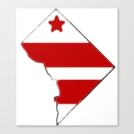 Washington DC District of Columbia Map with Flag Canvas Print