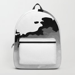 White Gray and Black Monochrome Graphic Cloud Effect Backpack