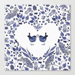 BLUE BIRDS WATERCOLOR - THE GIFT - INDIGO Canvas Print
