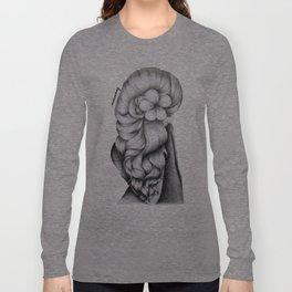 Black & White Pencil Sketch - Wavy Hair Flower Girl Long Sleeve T-shirt
