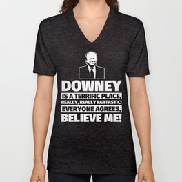 Downey Funny Gifts - City Humor Unisex V-Neck