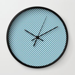 Hippie Blue and White Polka Dots Wall Clock