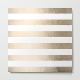 Simply Stripes in White Gold Sands Metal Print