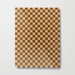 Tan Brown and Chocolate Brown Checkerboard Metal Print