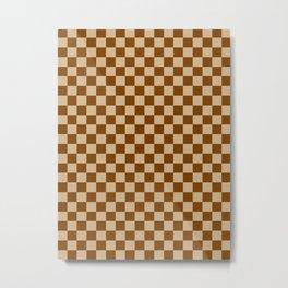 Tan Brown and Chocolate Brown Checkerboard Metal Print