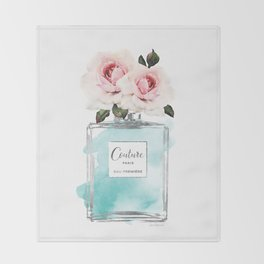 Perfume, watercolor, perfume bottle, with flowers, Teal, Silver, peonies, Fashion illustration, Throw Blanket