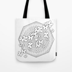Butterflies and kaleidoscope in gray and white Tote Bag