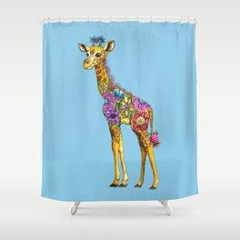 Geraldine the Geniunely Nice Giraffe Blue Shower Curtain