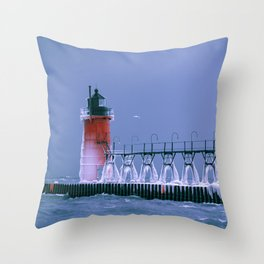 Little Red South Haven Lighthouse Lake Michigan Light Winter Ice Seagull Throw Pillow