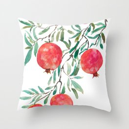 red pomegranate watercolor Throw Pillow