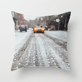 Yellow cab during snow Throw Pillow