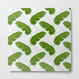 Banana Leaves_ Bg White Metal Print