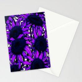 Purple Sunflowers Stationery Cards