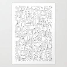 paper cut flowers white silver Art Print