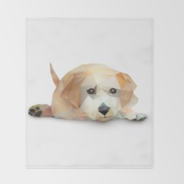 Low Poly Yellow Lab Throw Blanket