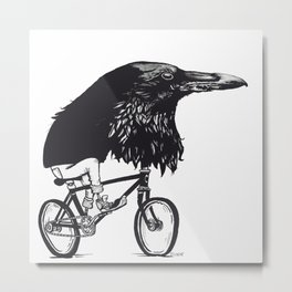 Black Bird Riding Metal Print