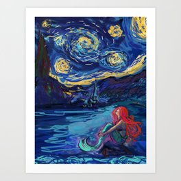 Starry Starry Night meets Mermaid Art Print
