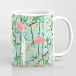 Bamboo, Birds and Blossom - soft blue green Coffee Mug