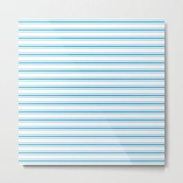 Oktoberfest Bavarian Blue and White Large Mattress Ticking Stripes Metal Print