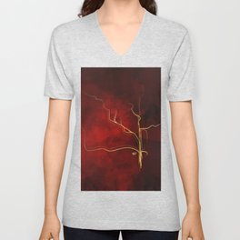 Kintsugi Red #red #gold #kintsugi #japan #marble #watercolor #abstract Unisex V-Neck