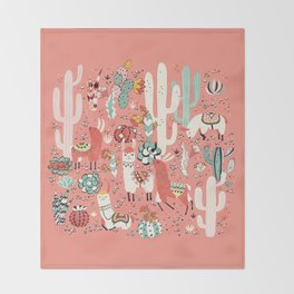 Lama in cactus jungles Throw Blanket