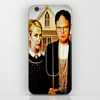 office iPhone & iPod Skins featuring Dwight Schrute & Angela Martin (The Office: American Gothic) by Silvio Ledbetter