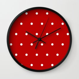 Red and White Polka Dots Pattern Wall Clock