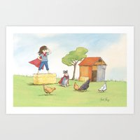 supergirl Art Prints featuring Supergirl by Amanda Francey