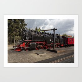 Steam train for water refueling Art Print