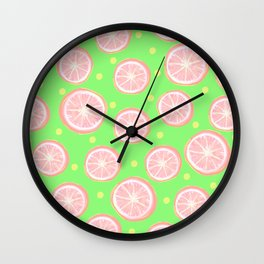 Pink Grapefruit and Dots - Green Wall Clock