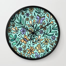 Butterflies and Bee Wall Clock