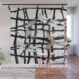 BLACK & WHITE DRAGONFLIES ON WHITE COLOR Wall Mural