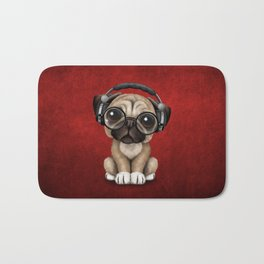 Cute Pug Puppy Dj Wearing Headphones and Glasses on Red Bath Mat