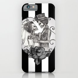 Striped Skeleton Love Couple Marriage Dance iPhone Case