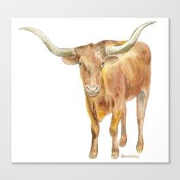 Texas Longhorn Steer Watercolor Canvas Print
