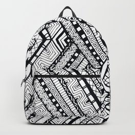 Black and white drawing tribal doddle rhombus background. Backpack