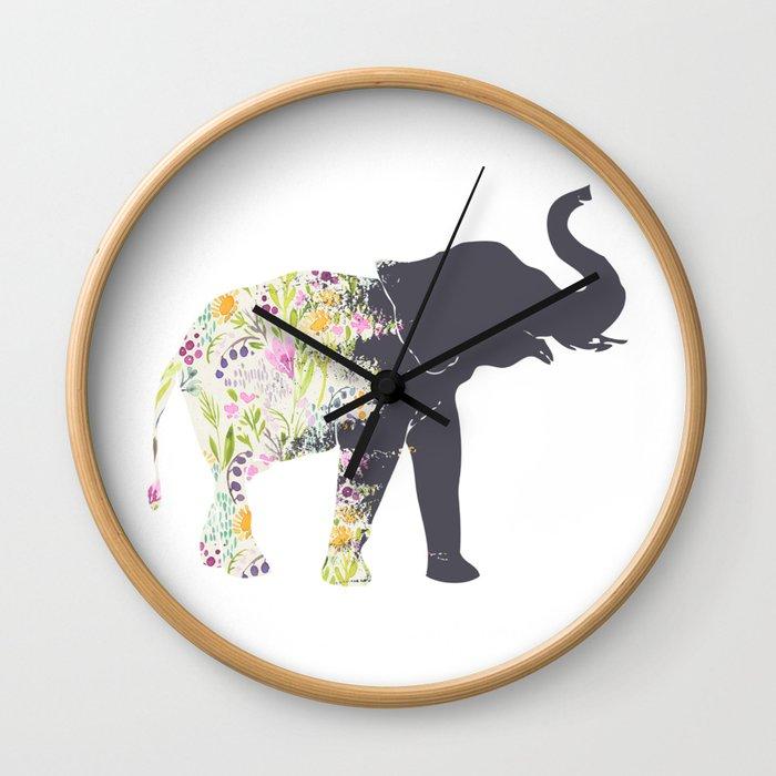 Floral Elephant Animal Print Wall Clock