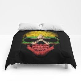 Dark Skull with Flag of Myanmar Comforters