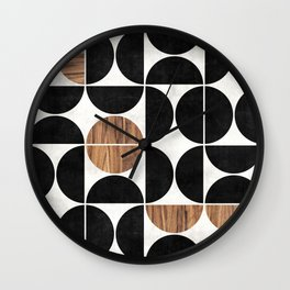 Mid-Century Modern Pattern No.1 - Concrete and Wood Wall Clock