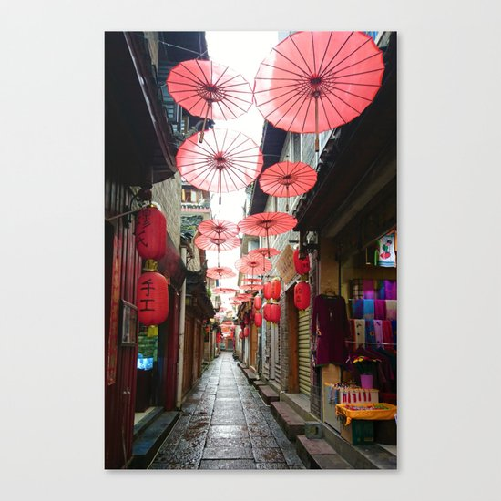 Asia in Red Canvas Print