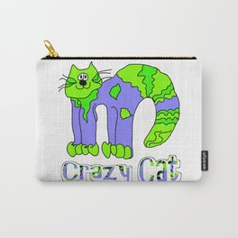 Crazy Cat Green Blue Earth Carry-All Pouch