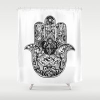 hamsa Shower Curtains featuring Hamsa by Cherry Virginia
