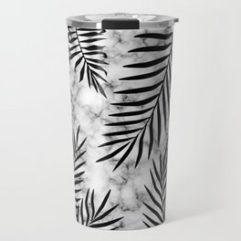 Black palm leaves on marble Travel Mug