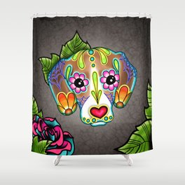 Beagle - Day of the Dead Sugar Skull Dog Shower Curtain