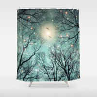 monika strigel Shower Curtains featuring Nature Blazes Before Your Eyes (Mint Embers) by soaring anchor designs