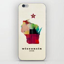 Wisconsin state map modern iPhone Skin