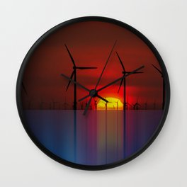 Windmills at the Horizon Wall Clock